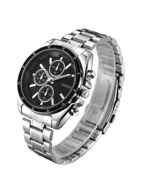 OUKESHI ساعة شريطها خليط معدني - أسود