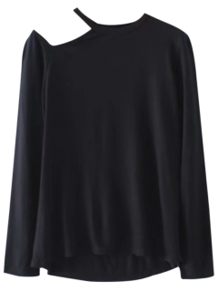 Layering Cold Shoulder Top - Black L