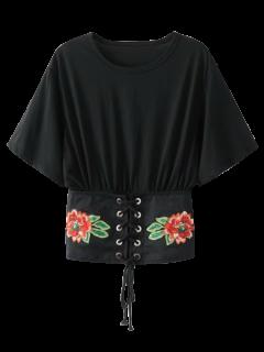 Embroidered Kimono Lace Up Top - Black L
