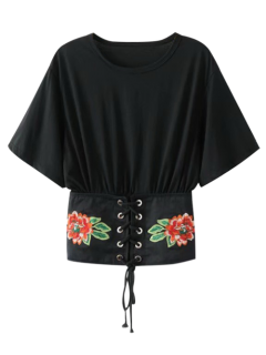 Embroidered Kimono Lace Up Top - Black S