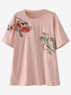 Loose Embroidered T-Shirt - Pink M