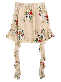 Flare Sleeve Off The Shoulder Blouse - Apricot L