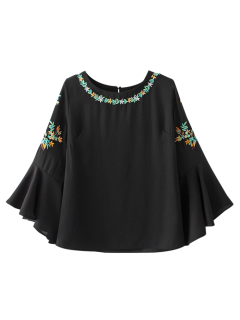 Flare Sleeve Embroidered Chiffon Blouse - Black S