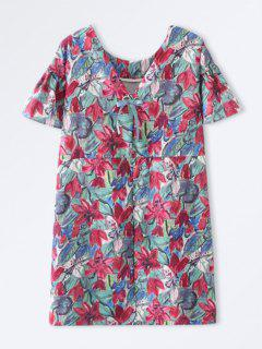 Robe Florale Droite Avec Nœud Papillon - Floral M