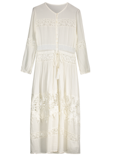 Button Up Lace Panel Drawstring Waist Dress - White M