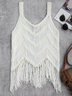Crochet Tassels Cover Up Tank Top - Blanco L