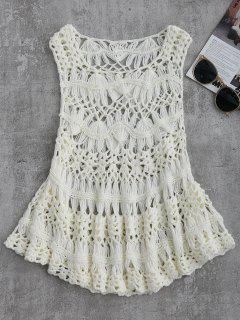 Cut Out Crochet Cover Up - White L