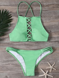 Crisscross Front High Neck Bikini Set - Green L