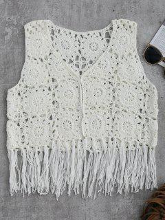 Sleeveless Tassels Crochet Cover Up - White M