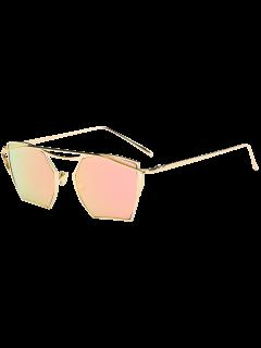Polygonal Mirrored Cambered Metal Crossbar Sunglasses - Gold Frame + Pink Lens
