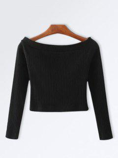 Knitted Ribbed Off The Shoulder Top - Black M