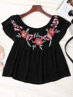 Off Shoulder Ruffle Embroidered Blouse - Black S