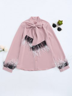 Chiffon Bowknot Shirt With Feather - Rose PÂle S