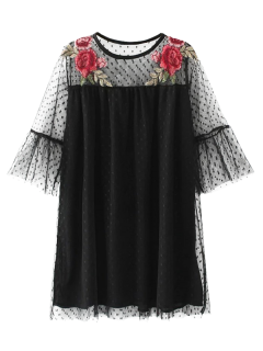 Embroidered See-Through Tunic Dress - Black L