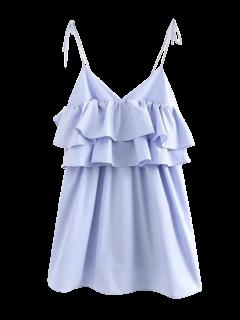 Layered Flounced Casual Dress - Light Blue L