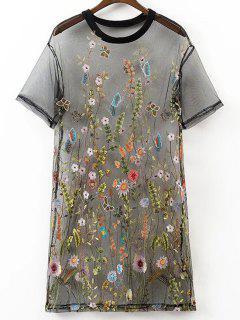 Mini-robe Brodée à Motifs Floraux - Noir S