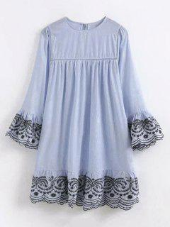 Striped Embroidered Flare Sleeve Dress - Light Blue S