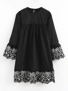 Embroidered Flare Sleeve Casual Dress - Black S