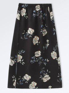 Poplin Floral A-Line Skirt - Black M