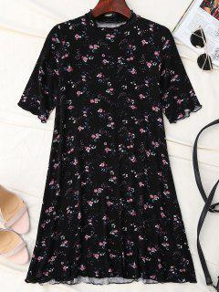 Tiny Floral Ruffle Neck T-Shirt Dress - Black S