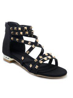 Gladiator Sandals With Studs - Black 37