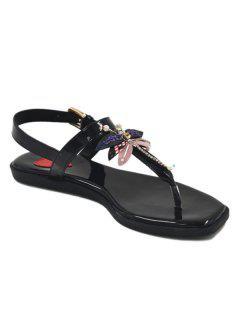 Faux Pearls Buckle Strap Sandals - Black 38