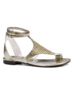 Flat Heel Toe Ring Sandals - Golden 37