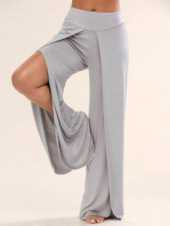 High Slit Palazzo Pants - Gray 2xl