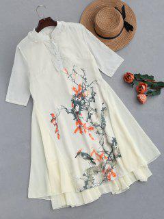 Floral Print Chiffon Knee Length Dress - Apricot M