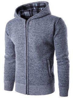 Zip Up Textured Hoodie - Light Gray Xl