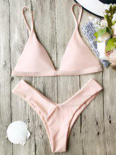 Soft Pad Spaghetti Straps Thong Bikini Set - Pink L