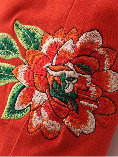 latest Embroidered Kimono Lace Up Top - BLACK M Mobile