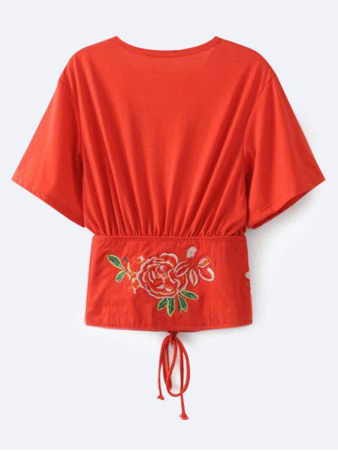 fancy Embroidered Kimono Lace Up Top - RED S Mobile