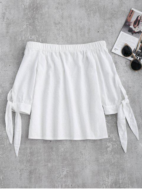 Schulterfreie Riemchen Gebunden Ärmel Bluse - Weiß S Mobile