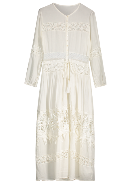 trendy Button Up Lace Panel Drawstring Waist Dress - WHITE M Mobile