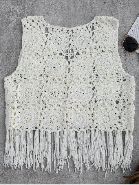 fashion Sleeveless Tassels Crochet Cover Up - WHITE L Mobile
