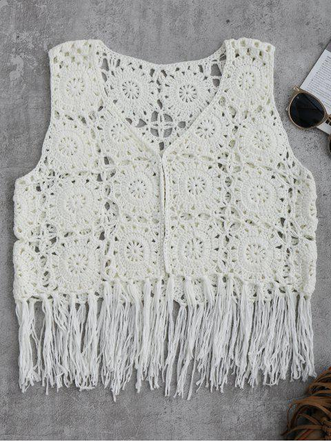 fashion Sleeveless Tassels Crochet Cover Up - WHITE L Mobile
