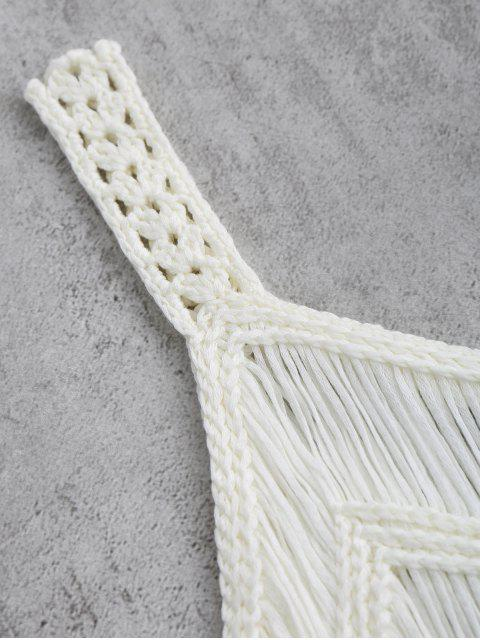 chic Crochet Tassels Cover Up Tank Top - WHITE M Mobile