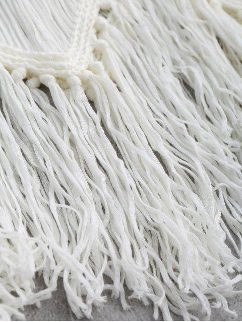 fancy Crochet Tassels Cover Up Tank Top - WHITE L Mobile