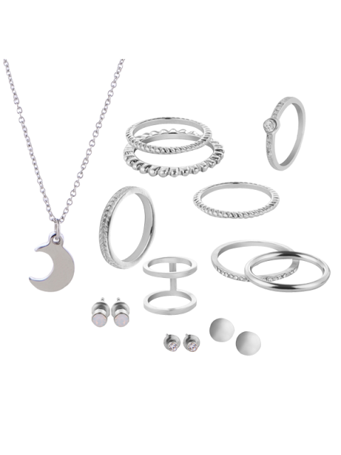 Conjunto de joyas de luna de círculo de diamantes - SILVER  Mobile