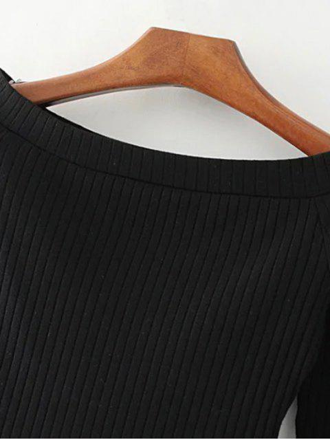 Knitted Ribbed Off The Shoulder Top - Noir S Mobile