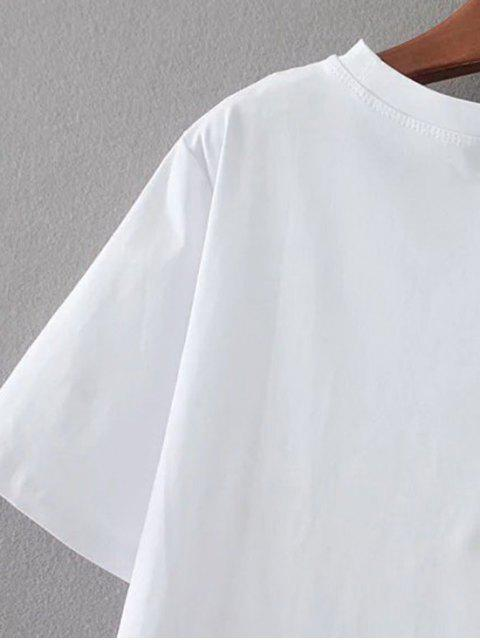 shops Cute Patched T-Shirt - WHITE ONE SIZE Mobile