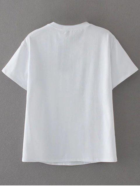 T-shirt mignon brodé à motif floral - Blanc M Mobile