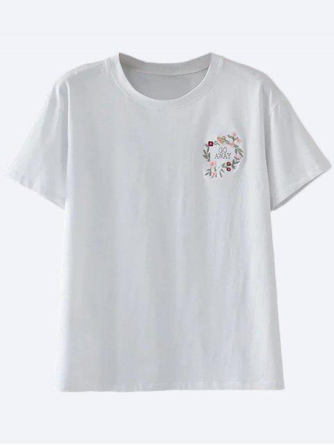 fancy Cute Floral Embroidered T-Shirt - WHITE M Mobile