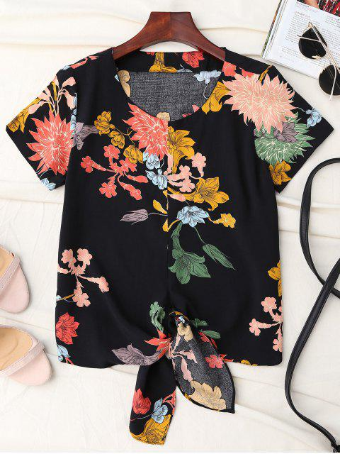 ladies Floral Knot Hem Top - BLACK M Mobile