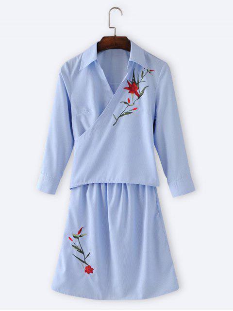 Floral bordado Wrap vestido de manga larga - Azul Claro M Mobile