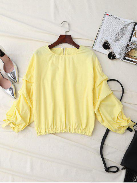 sale Ruched Cuff Sleeve Elastic Hem Top - YELLOW S Mobile