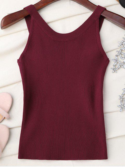 latest High Neckline Knitted Tank Top - WINE RED ONE SIZE Mobile