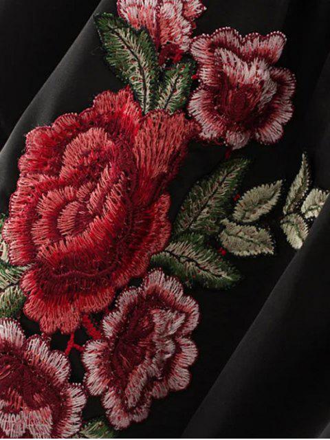 Shorts brodés floraux et shorts à cordon - Noir S Mobile