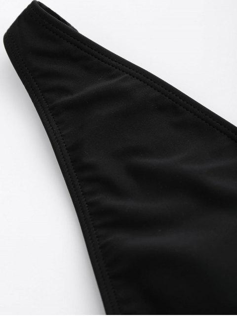 ZAFUL Cut Out Plunging Neck Bandage Traje de baño - Negro M Mobile